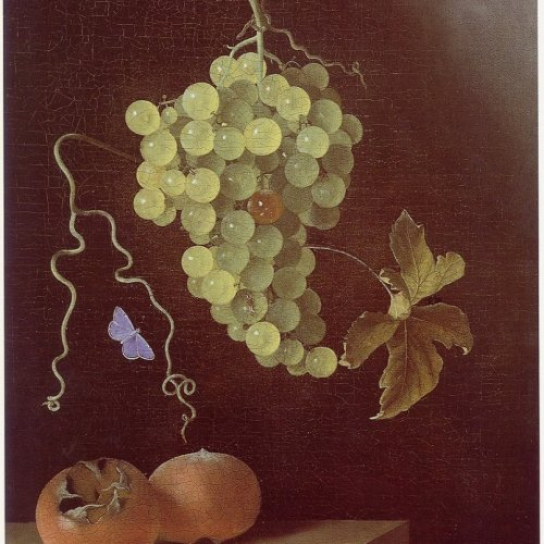 849px-Adriaen_Coorte_-_Still_life_with_hanging_bunch_of_grapes,_two_medlars_and_a_butterfly